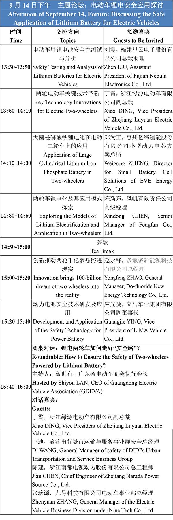 日程安排-2021轻型电动车用锂电池技术及应用交流会